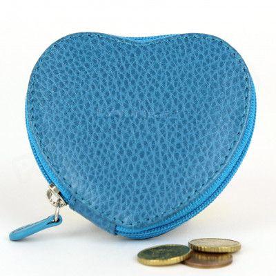 Porte-monnaie Coeur cuir Bleu turquoise Beaubourg