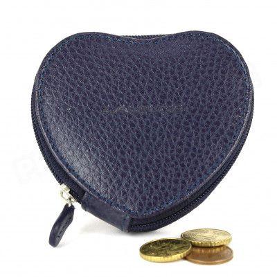Porte-monnaie Coeur cuir Bleu marine Beaubourg