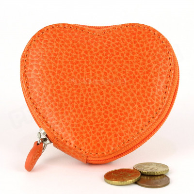 Porte-monnaie Coeur cuir Orange Beaubourg
