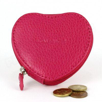 Porte-monnaie Coeur cuir Rose fuchsia Beaubourg
