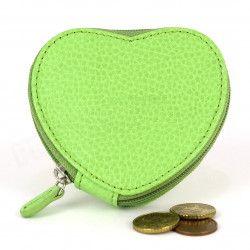 Porte-monnaie Coeur cuir Vert-anis Beaubourg