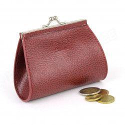 Porte-monnaie Fermoir cuir Rouge-bordeaux Beaubourg