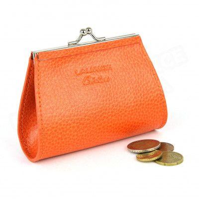 Porte-monnaie Fermoir cuir Orange Beaubourg