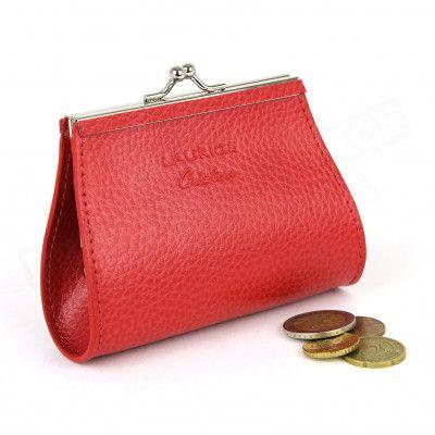 Porte-monnaie Fermoir cuir Rouge Beaubourg