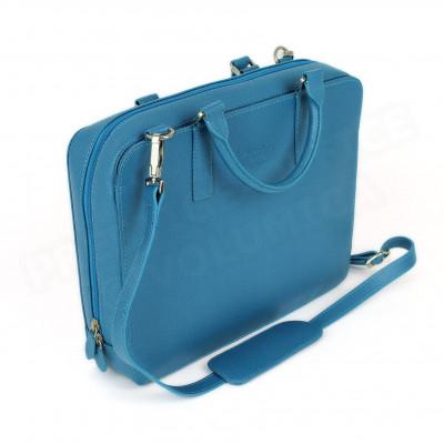 Mini serviette PC cuir Bleu turquoise Beaubourg