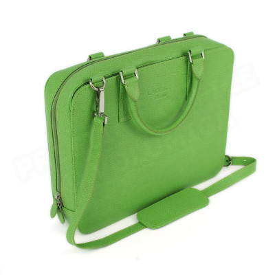 Mini serviette PC cuir Vert anis Beaubourg