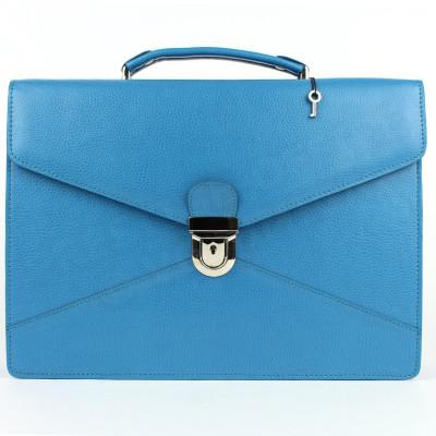 Serviette 2 soufflets cuir Bleu turquoise Beaubourg
