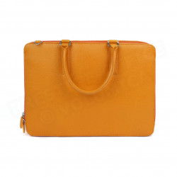 Serviette 2 Compartiments cuir Orange Beaubourg
