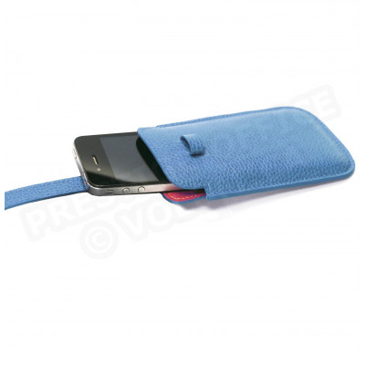 Etui smarphone universel cuir Bleu turquoise Beaubourg