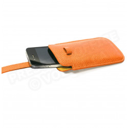 Etui smarphone universel cuir Orange Beaubourg