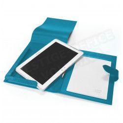Etui tablette universel A5 cuir Bleu-turquoise Beaubourg
