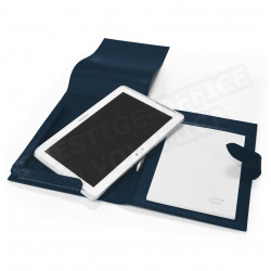 Etui tablette universel A5 cuir Bleu-marine Beaubourg