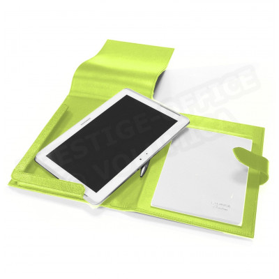 Etui tablette universel A5 cuir Vert anis Beaubourg