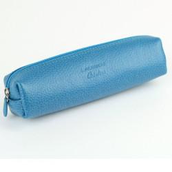 Trousse carrée cuir Bleu-turquoise Beaubourg