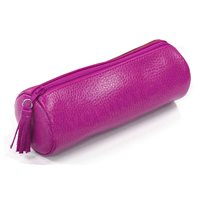 Trousse ronde cuir Rose fuchsia Beaubourg
