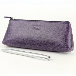 Trousse triangulaire cuir Violet Beaubourg