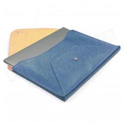 Etui Mac book air cuir Bleu-turquoise Beaubourg