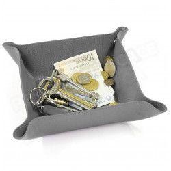 Vide-poche maison cuir Gris Beaubourg