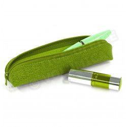 Etui stylo à zip Vert-anis Corfou