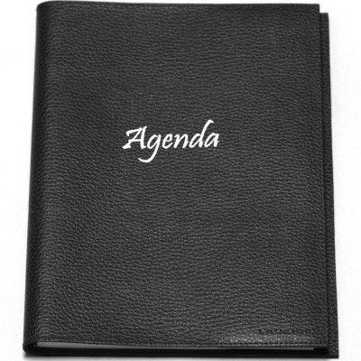 Agenda 21x27 cuir Noir Beaubourg