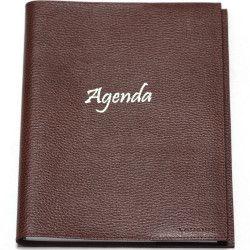 Agenda 21x27 cuir Marron Beaubourg