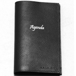 Agenda de poche cuir Noir Beaubourg