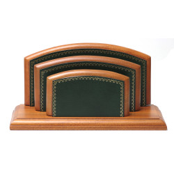Porte-lettres/courrier Bois style Cuir Vert Collection Trianon