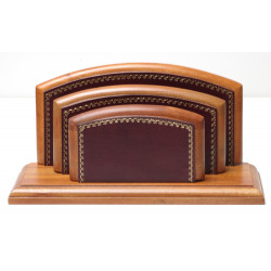 Porte-lettres/courrier Bois style Cuir Bordeaux Collection Trianon