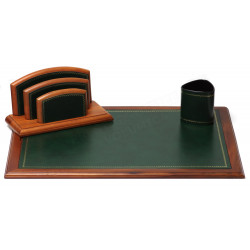 Parure de bureau Bois et Cuir Vert N°10 Collection Trianon