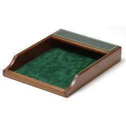Corbeille à courrier Bois et Cuir Vert Collection Trianon