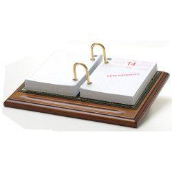 Bloc éphémeride-calendrier Bois et Cuir Vert Collection Trianon