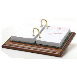 Bloc éphémeride-calendrier Bois et Cuir Noir Collection Trianon