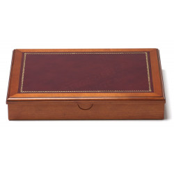 Coffret à courrier en Bois et Cuir Bordeaux Collection Trianon
