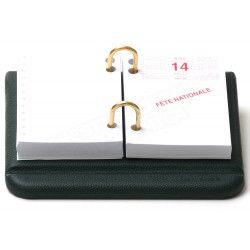Bloc éphémeride-calendrier Cuir Vert Collection Lafayette