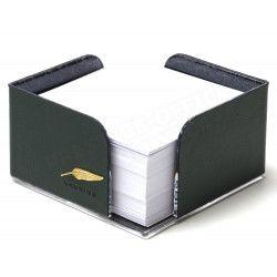 Bloc-notes cube en Cuir Vert Collection Windsor