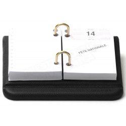 Bloc éphémeride-calendrier Cuir Noir Collection Lafayette