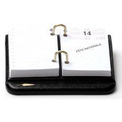 Bloc éphémeride-calendrier Cuir Noir Collection Windsor