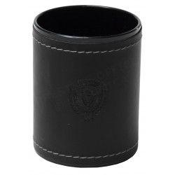 Pot à crayons rond style Cuir Nubuck Noir Collection Montaigne