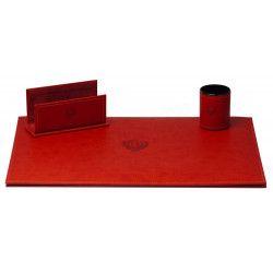 Parure de bureau style Cuir Nubuck Rouge N°10 Collection Montaigne