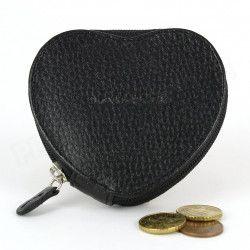 Porte-monnaie Coeur cuir Noir Beaubourg