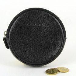 Porte-monnaie Rond cuir Noir Beaubourg
