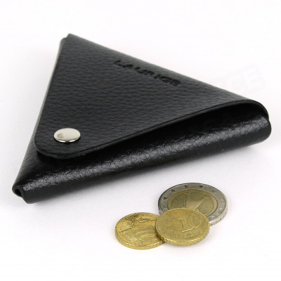 Porte-monnaie triangle cuir Noir Beaubourg