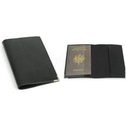 Etui passeport cuir Noir Beaubourg