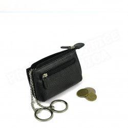 Petit Porte-clés/Porte monnaie cuir Noir Beaubourg