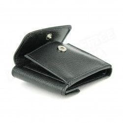 Porte-monnaie billets et cartes cuir Noir Beaubourg