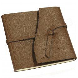 Carnet de voyage 15x15 cuir Marron Beaubourg