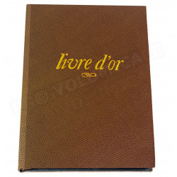 Livre d'Or A4 cuir Marron Beaubourg